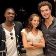 """Exclusif - Les comediens de la serie """"Plus Belle la Vie"""", Elodie Varlet ( Estelle), Jeremie Poppe ( Romain) et David Baiot ( Djawad) posent a l'hotel Intercontinental de Marseille le 14 juillet 2013."""