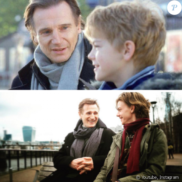 Liam Neeson et son fils de fiction, Thomas Brodie-Sangster, entre Love Actually (2003) et Red Nose Day Actually (2017).