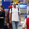 Semi-exclusif - Karim Benzema arrive a l'aéroport de LAX à Los Angeles, le 15 juin 2016.