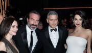George Clooney et Amal enceinte au Fouquet's après les César 2017.