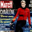 """""""Paris Match, numéro du 2 mars 2017. En couverture, la princesse Charlene de Monaco et ses jumeaux, le prince Jacques et la princesse Gabriella."""""""
