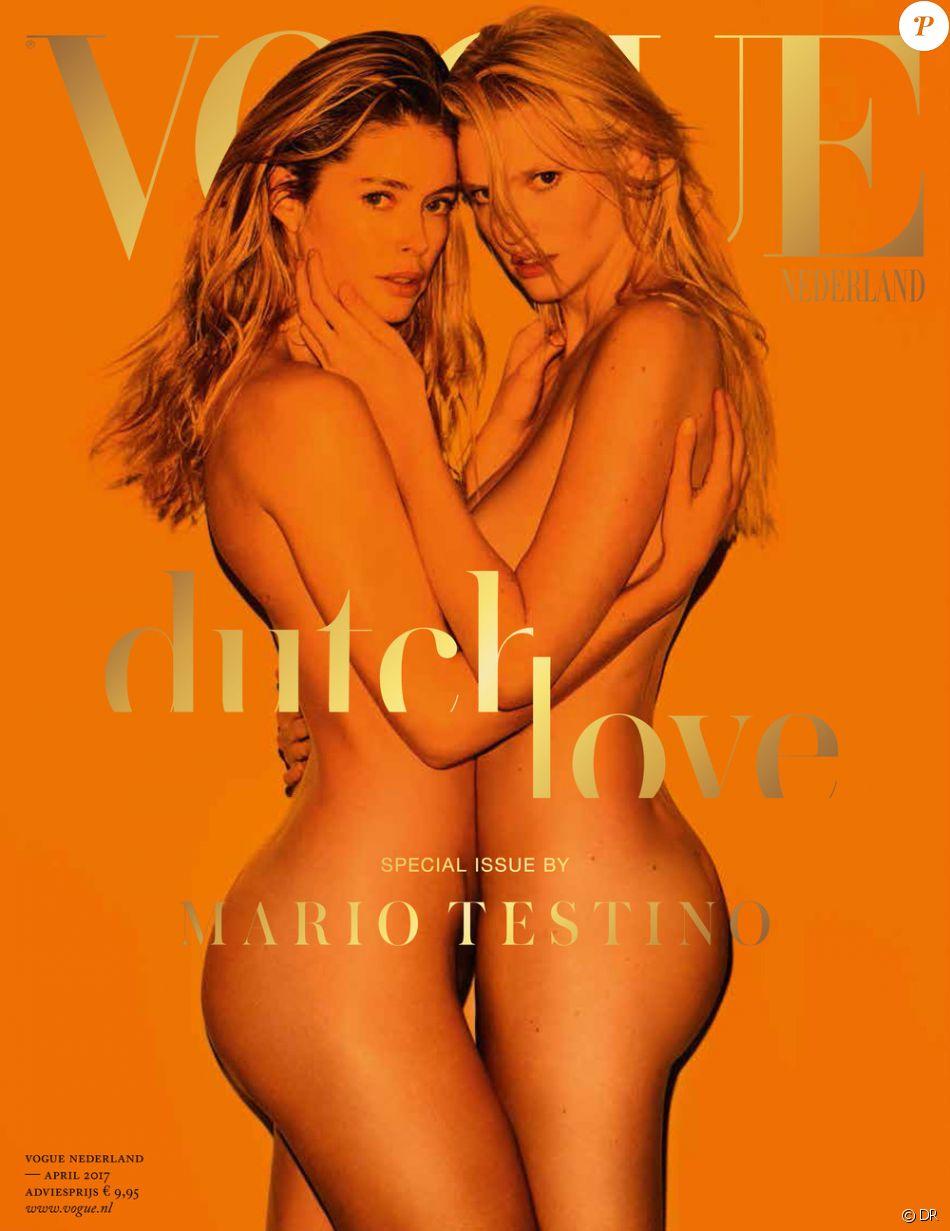 Lara Stone et Doutzen Kroes en couverture du numéro d'avril 2017 du magazine Vogue Nederland. Photo par Mario Testino.