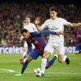 """Neymar au dule lors du 8ème de finale de la Champions League """"FC Barcelone - PSG"""" au Camp Nou à Barcelone. Le PSG a subit une défaite unique dans l'histoire de la compétition en perdant 6-1 au match retour après avoir gagné 4-0 au match aller. Barcelone, le 8 mars 2017."""