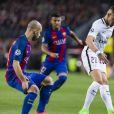 """Layvin Kurzawa - 8ème de finale de la Champions League """"FC Barcelone - PSG"""" au Camp Nou à Barcelone. Le PSG a subit une défaite unique dans l'histoire de la compétition en perdant 6-1 au match retour après avoir gagné 4-0 au match aller. Barcelone, le 8 mars 2017."""
