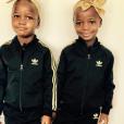 Madonna partage une photo de ses jumelles  Estere et Stelle habillées par Adidas sur sa page Instagram le 21 février 2017.