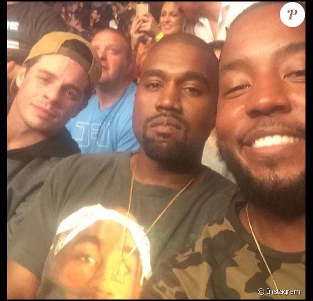 Ricky Anderson au côté de son cousin Kanye West et de leur ami Casper Smart à Las Vegas le 22 août 2016