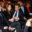 Eric Ciotti, Carla Bruni-Sarkozy, son mari Nicolas Sarkozy, Sylvain Berrios, Claude Greff - Carla Bruni-Sarkozy assiste au meeting de son mari Nicolas Sarkozy à Saint-Maur-des-Fossés le 14 novembre 2016.