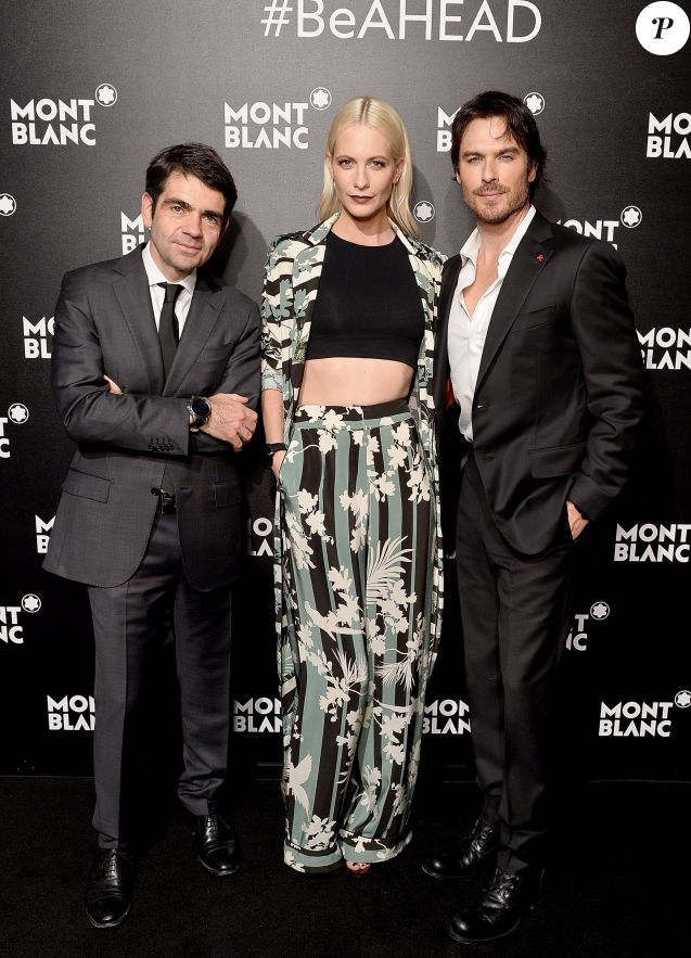 Jérôme Lambert, Poppy Delevingne et Ian Somerhalder - Soirée de lancement de la collection 'Summit' de Montblanc, au Leadenhall. Londres, le 16 mars 2017.