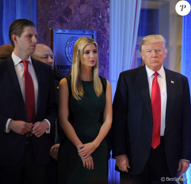 Donald Trump et ses enfants Eric Trump, Ivanka Trump et Donald Trump Jr - Première conférence de presse du nouveau président des Etats-Unis Donald Trump à New York. Le 11 janvier 2017
