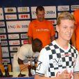 """Mick Schumacher lors du tournoi de foot """"Champions for Charity"""" en l'honneur de son père Michael Schumacher au stade Opel Arena à Mayence, Allemagne, le 27 juillet 2016."""