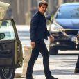 """Tom Cruise sur le tournage d'une scène du film """"Mission Impossible 6"""" à Paris, France, le 9 avril, 2017."""
