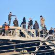 """Tournage d'une scène du film """"Mission Impossible 6"""" sur le toit du ministère des Finances de Bercy à Paris. Le 8 avril 2017 © Lionel Urman / Bestimage"""