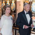 La princesse Birgitta de Suède, la princesse Désirée de Suède et son mari le baron Niclas Silfverschiöld lors du banquet donné en l'honneur du 70e anniversaire du roi Carl XVI Gustaf de Suède au palais royal à Stockholm, le 30 avril 2016.