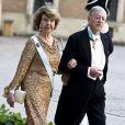 La princesse Désirée de Suède et son mari le baron Niclas Silfverschiöld lors du mariage de la princesse Madeleine de Suède et de Christopher O'Neill le 8 juin 2013 à Stockholm.