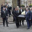 """Obsèques de Carl Adam """"Noppe"""" Lewenhaupt, ami d'enfance du roi Carl XVI Gustaf de Suède, à l'église Hedwige-Éléonore à Stockholm le 31 mars 2017."""