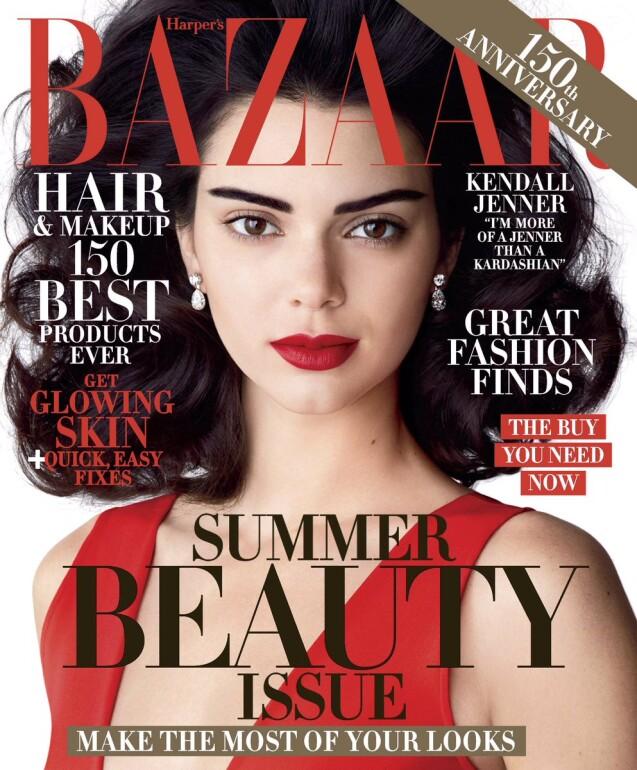 Kendall Jenner en couverture du magazine Harper's BAZAAR. Avril 2017.