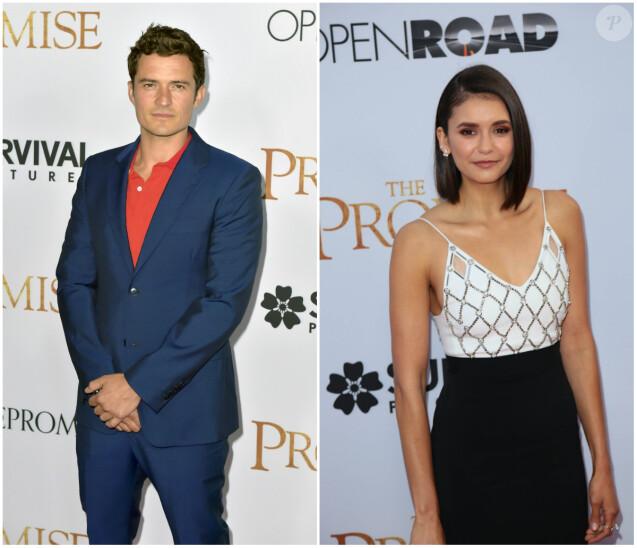"""Orlando Bloom et Nina Dobrev lors de la première """"The Promise"""" à Hollywood, le 12 avril 2017."""