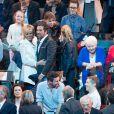 Laurence Auzière Jourdan, Brigitte Macron, Bernard Montiel, Tiphaine Auzière - La famille, les amis et soutiens d'Emmanuel Macron dans les tribunes lors du grand meeting d'Emmanuel Macron, candidat d'En Marche! à l'élection présidentielle 2017, à l'AccorHotels Arena à Paris, France, le lundi 17 avril 2017. © Cyril Moreau/Bestimage
