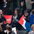 La chanteuse Dani - La famille, les amis et soutiens d'Emmanuel Macron dans les tribunes lors du grand meeting d'Emmanuel Macron, candidat d'En Marche! à l'élection présidentielle 2017, à l'AccorHotels Arena à Paris, France, le lundi 17 avril 2017. © Cyril Moreau/Bestimage