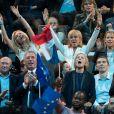 Brigitte Macron (Trogneux) et ses filles Laurence et Tiphaine , Gérard Collomb, François Bayrou, Marielle de Sarnez - La famille, les amis et soutiens d'Emmanuel Macron dans les tribunes lors du grand meeting d'Emmanuel Macron, candidat d'En Marche! à l'élection présidentielle 2017, à l'AccorHotels Arena à Paris, France, le lundi 17 avril 2017. © Cyril Moreau/Bestimage