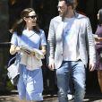 Ben Affleck et Jennifer Garner emmènent leurs enfants Violet, Seraphina et Samuel à la messe de Pâques à Los Angeles, le 16 avril 2017.