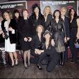 Toute l'équipe des actrices avec JoeyStarr et Nicolas Briançon autour de Maïwenn à l'avant-première du Bal des actrices, le 19/01/09
