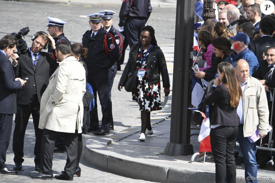 Sibeth Ndiaye - Cérémonie d'hommage au soldat inconnu à l'Arc à de Triomphe à Paris, le 14 mai 2017. © Pierre Perusseau/Bestimage