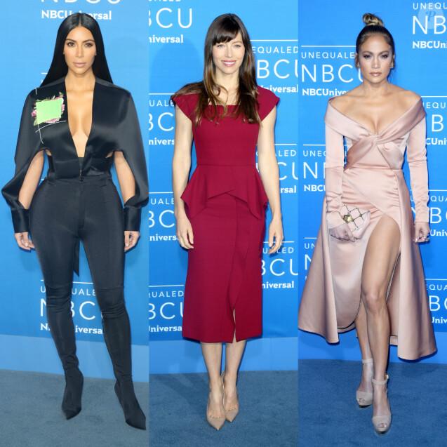 Kim Kardashian, Jessica Biel et Jennifer Lopez assistent à l'UpFront du groupe NBCUniversal au Radio City Music Hall. New York, le 15 mai 2017.