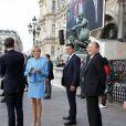 Brigitte Macron et Bruno Julliard - Le président de la République française E. Macron à l'hôtel de ville de Paris pour une cérémonie avec la maire de Paris A. Hidalgo, à Paris, France, le 14 mai 2017.