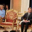 Brigitte Macron et son mari Emmanuel Macron - Le président de la République française E. Macron à l'hôtel de ville de Paris pour une cérémonie avec la maire de Paris A. Hidalgo, à Paris, France, le 14 mai 2017