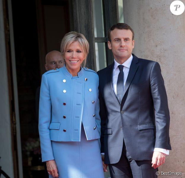 Emmanuel Macron et sa femme Brigitte Macron - Arrivées au palais de l'Elysée à Paris pour la cérémonie d'investiture d'E. Macron, nouveau président de la République, le 14 mai 2017.