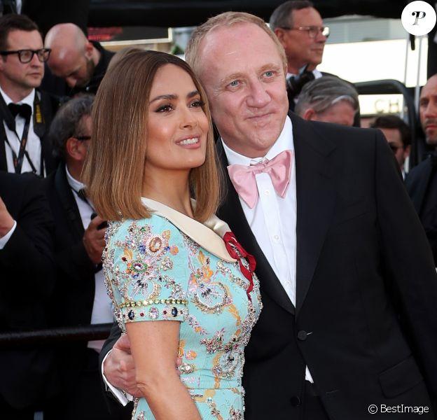 Salma Hayek (en Gucci) et son mari François-Henri Pinault - Montée des marches de la soirée du 70ème anniversaire du Festival de Cannes. Le 23 mai 2017. © Borde-Jacovides-Moreau / Bestimage