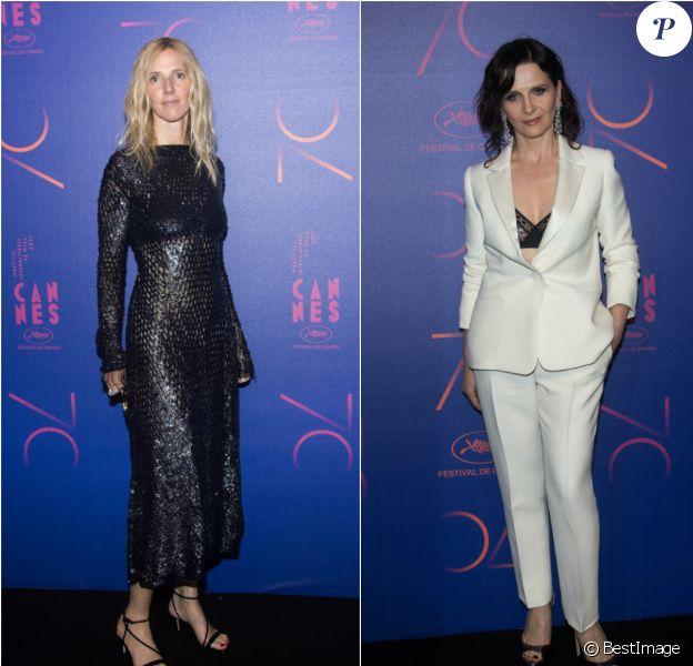 Sandrine Kiberlain et Juliette Binoche (photomontage) - Photocall du dîner des 70 ans du Festival International du Film de Cannes. Le 23 mai 2017. © Borde-Jacovides-Moreau / Bestimage