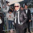 Karl Lagerfeld le 24 mai 2017 au dîner organisé par Chanel et Vanity Fair au restaurant  Tetou  à Golfe Juan en marge du 70e Festival de Cannes.