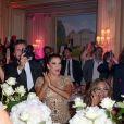 """Exclusif - Prix Spécial - No Web No Blog - Maria Bravo, Eva Longoria, présidente d'honneur de l'événement, était vêtue d'une création Marchesa, parée de bijoux Messika (partenaire officiel) et délicatement parfumée par """"Accord 119"""", senteurs de la Maison Caron (partenaire officiel), et Orianne Colins lors de la 8ème édition du dîner du Global Gift Gala à l'hôtel Four Seasons George V à Paris, France, le 16 mai 2017. P. Anderson a reçu The Global Gift Philantropist Award, O. Collins a reçu The Global Gift Philantropist Award et V. Messika a reçu The Global Gift Philanthropreneur Award. Cet événement est soutenu par les bijoux MESSIKA et les Parfums CARON, tous deux partenaires officiels. © Dominique Jacovides/Bestimage Exclusive - For Germany Call For Price - No Web No Blog - Celebs during the dinner at the 8th edition of Global Gift Gala held at the Four Seasons George V hotel in Paris, France, on May 16, 2017.16/05/2017 - Paris"""