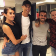 Cristiano Ronaldo et sa compagne Georgina Rodriguez (à gauche) en loge avec J Balvin (au centre) lors de son concert à Madrid le 22 mai 2017. Photo Instagram Georgina Rodriguez.