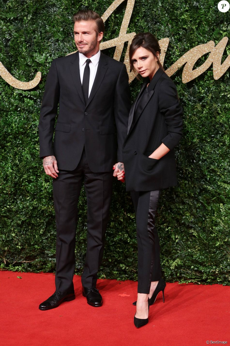 "David et Victoria Beckham - Soirée des ""British Fashion Awards"" à Londres. Le 23 novembre 2015"