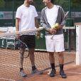 Frédéric Lerner et Cyrille Eldin lors de la troisième journée du Trophée des Personnalités de Roland-Garros le 8 juin 2017.