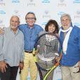 Patrice Laffont, Philippe Lavin, Stéphanie Fugain et Jean-Pierre Castaldi lors de la troisième journée du Trophée des Personnalités de Roland-Garros le 8 juin 2017.