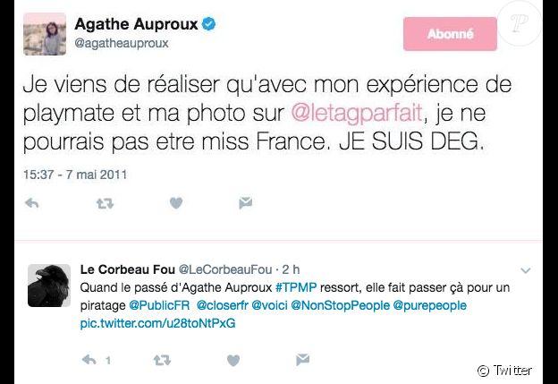"""Tweet d'Agathe Auproux évoquant sa photo dénudée pour """"Le Tag Parfait"""", réalisée en 2011."""