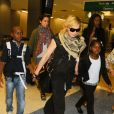 Madonna et ses enfants David, Mercy et Lourdes arrivent a New York en provenance de Londres le 3 septembre 2013