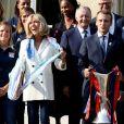 Le président de la République Emmanuel Macron et sa femme Brigitte Macron (Trogneux) reçoivent l'équipe de football féminine de l'Olympique lyonnais (qui a remporté la ligue des Champions) au Palais de l'Elysée à Paris, le 20 juin 2017. © Dominique Jacovides/Bestimage