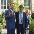 Le ministre de la Transition écologique et solidaire Nicolas Hulot reçoit Arnold Schwarzenegger (fondateur du R20, Regions of Climate Action) au Ministère de l'Ecologie à Paris le 23 juin 2017. © Giancarlo Gorassini/Bestimage