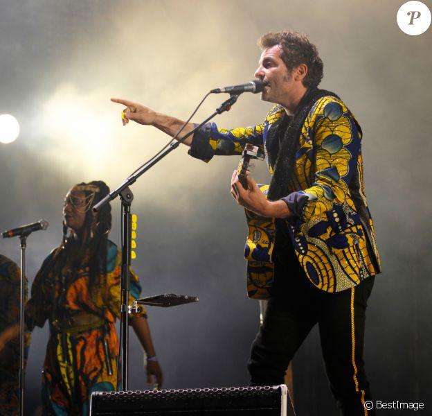Le chanteur M (Mathieu Chedid) en concert - Festival Solidays à l'Hippodrome de Longchamp - Jour 3 - à Paris, France, le 25 juin 2017. © Lise Tuillier/Bestimage