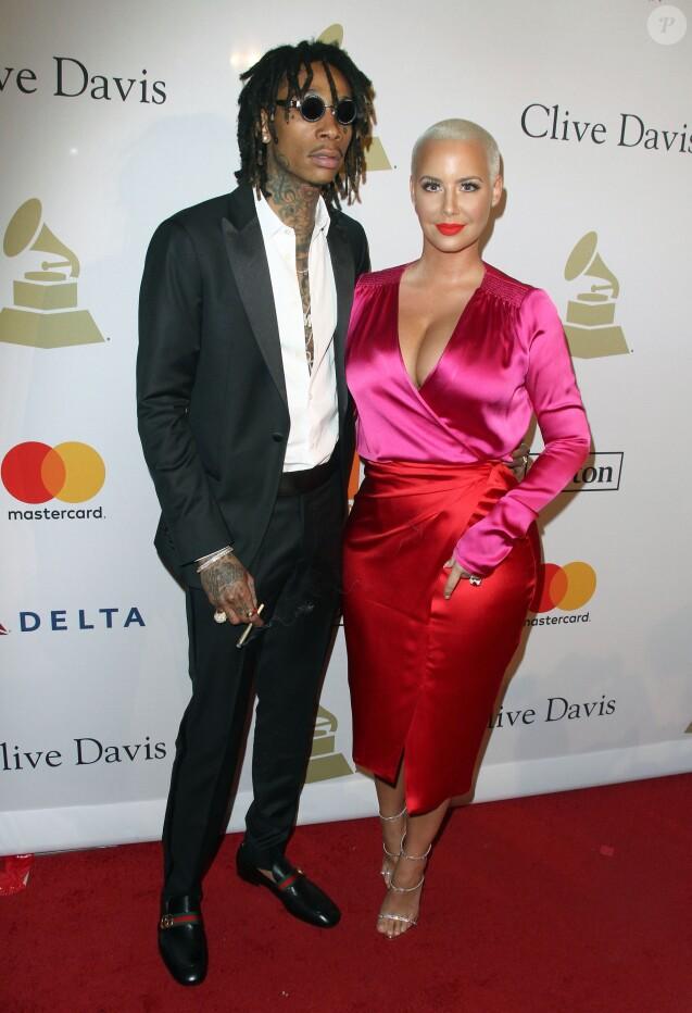 Wiz Khalifa et son ex-femme Amber Rose au gala Pre-Grammy à l'hôtel The Beverly Hilton à Beverly Hills, le 11 février 2017
