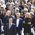 Le président Emmanuel Macron et sa femme Brigitte Macron (Trogneux) - Hommage national à Simone Veil (femme politique et rescapée de la Shoah) dans la cour d'Honneur des Invalides à Paris, France, le 5 juillet 2017. Simone Veil reposera avec son mari au Panthéon. © Pierre Perusseau/Bestimage