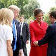 Le président de la République Emmanuel Macron, sa femme Brigitte Trogneux, le président des Etats-Unis Donald Trump et sa femme Melania Trump lors de la cérémonie d'accueil du président des Etats-Unis à l'Hôtel National des Invalides à Paris le 13 juillet 2017. © Dominique Jacovides/Bestimage