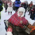 Mette-Marit bien installée : c'est son fils Marius, onze ans, qui tient les rênes des rennes !