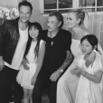 David, Johnny et Laeticia Hallyday, entourés de Jade et Joy, le 18 juin 2017