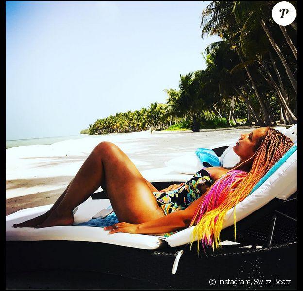 Alicia Keys en vacances en Jamaïque. Août 2017.